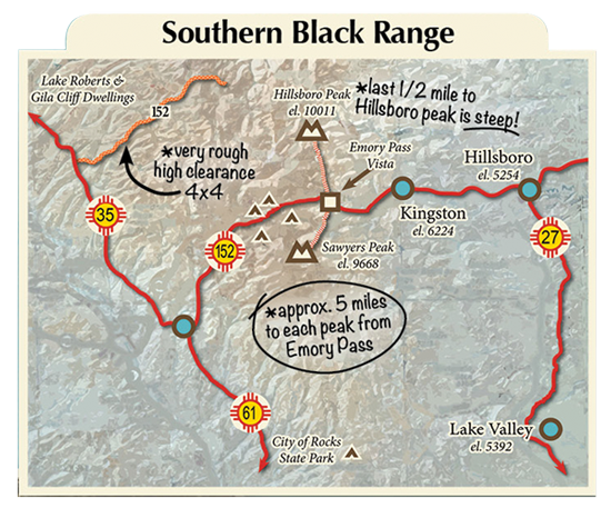 map of the Southern Black Range Mountains
