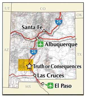 map of New Mexico with the Geronimo Trail Scenic Byway in yellow