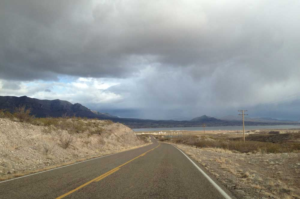 Approaching Caballo Lake from Highway 152