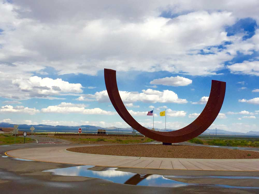 Genesis sculpture at the entrance to Spaceport America, a side trip on the Geronimo Trail National Scenic Byway