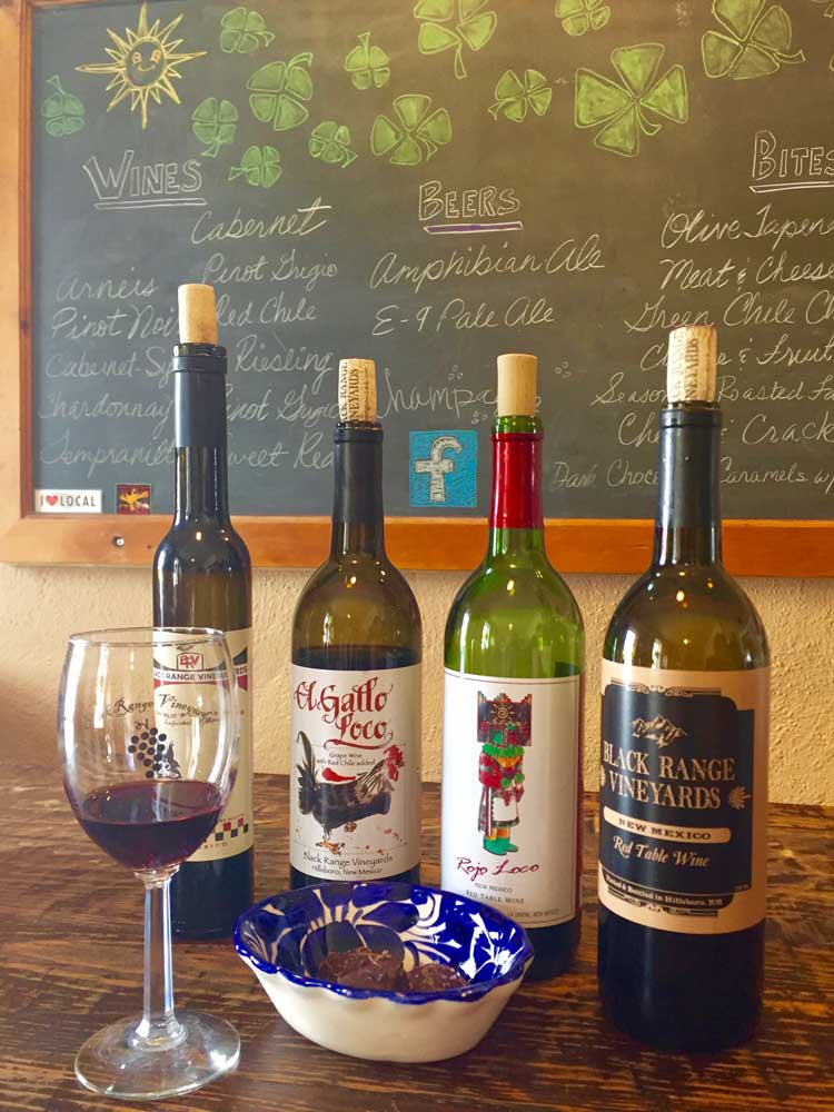 sampling wine at Black Range Vineyards in Hillsboro NM