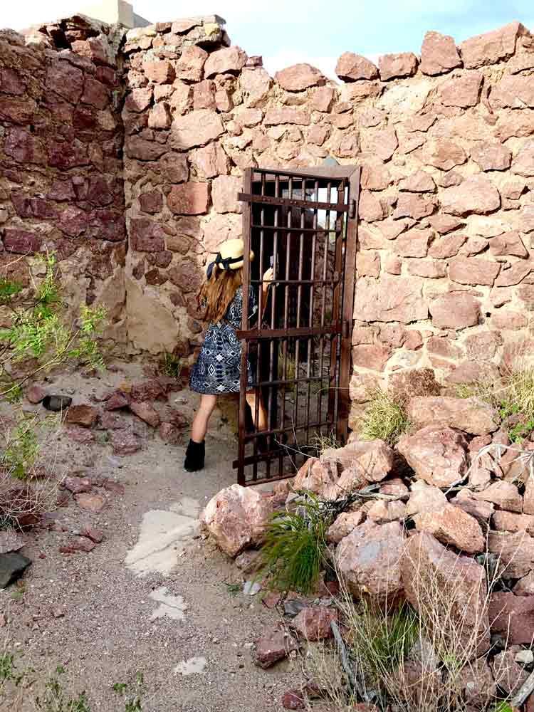 entering the jail at the Sierra County courthouse ruins in Hillsboro NM