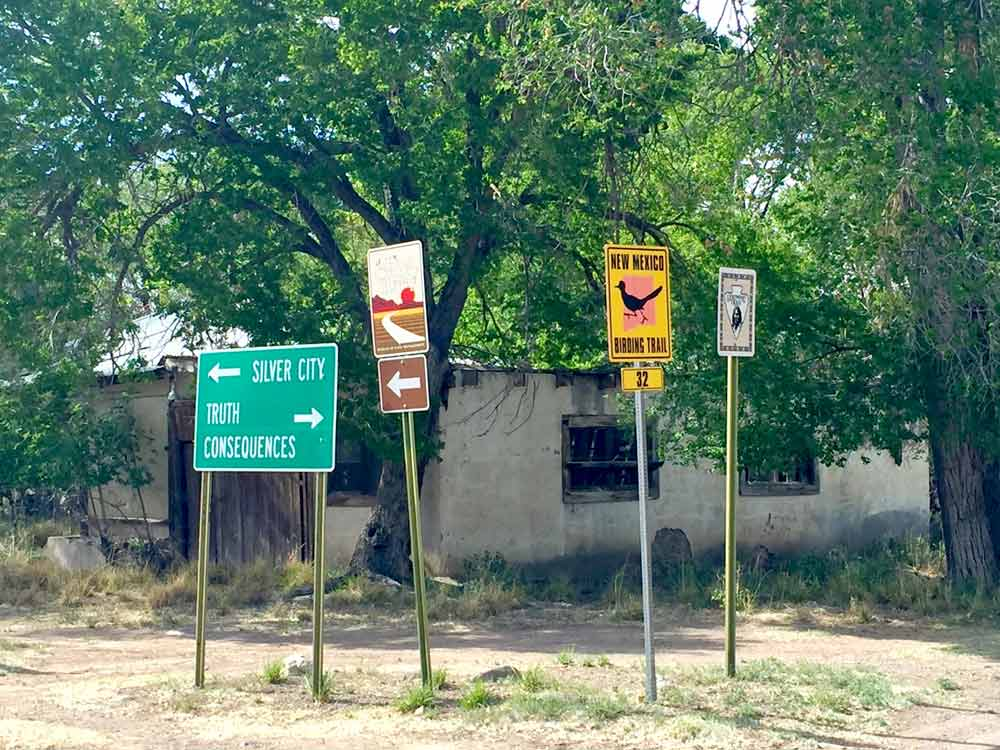 road signs in Hillsboro New Mexico